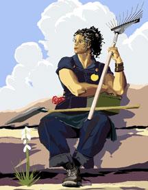 Cartoon of women holding a rake and shovel