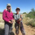 Women hiking in desert